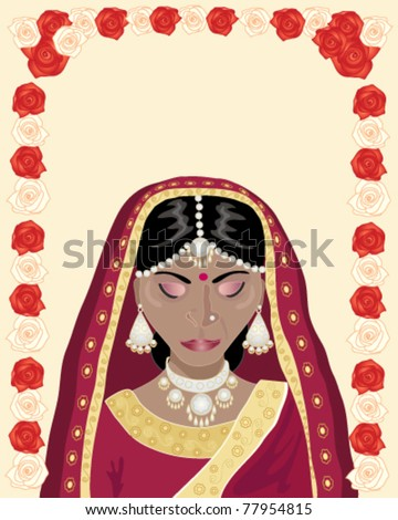 Stock vector vector illustration of a traditionally dressed indian