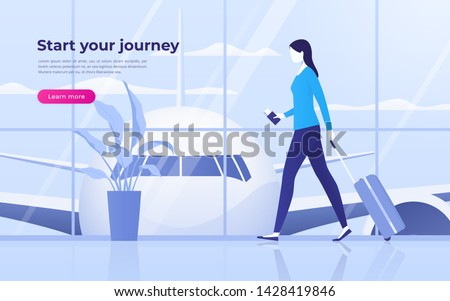 Vector illustration of a traveling young woman at the airport terminal with suitcase and passport with boarding pass tickets.