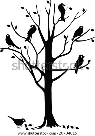 tree silhouette vector. of a tree silhouette with