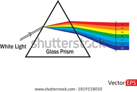 Vector illustration of a triangular transparent optical glass prism. Dispersion or refraction of the white light into the colorful visible spectrum. Physics illustration.