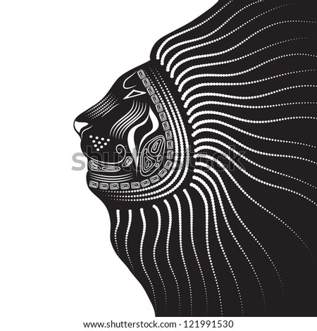 Vector illustration of a tribal animal Lion in graphic style