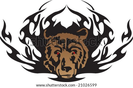 stock vector : vector illustration of a tribal bear tattoo