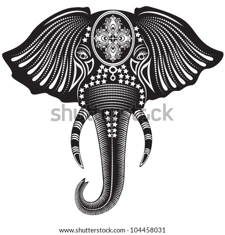 Vector illustration of a tribal totem animal - Elephant - in graphic style