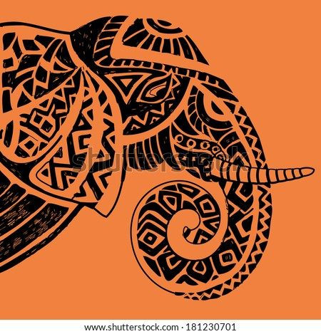 Vector illustration of a tribal totem animal Elephant in graphic style