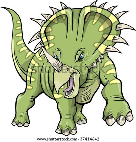 Vector Illustration of a Triceratops Dinosaur - stock vector