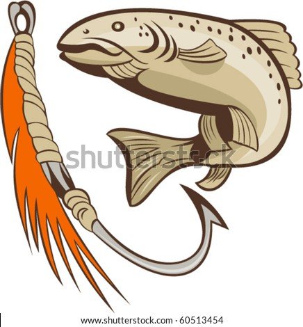 vector illustration of a trout fish and fishing hook lure bait - stock vector