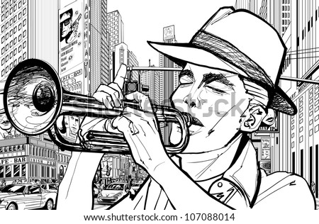 Vector illustration of a trumpeter in a New York street