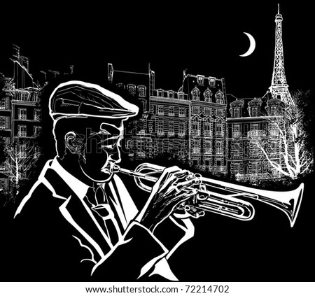 Vector illustration of a trumpeter on  Paris grunge background
