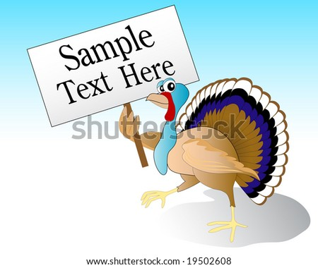 a image of a turkey. stock vector : vector illustration of a turkey holding a sign