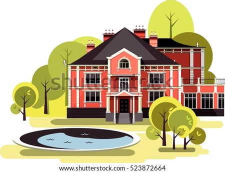 vector illustration of a two-storey country mansion with a garden around it landscaped, garden, trees and bushes in the sky