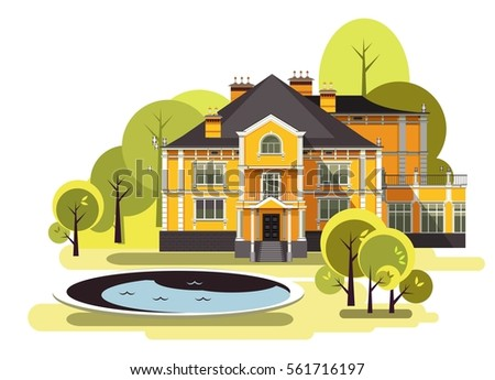 vector illustration of a two storey country mansion with a garden around it landscaped, garden maze, trees and bushes in the sky