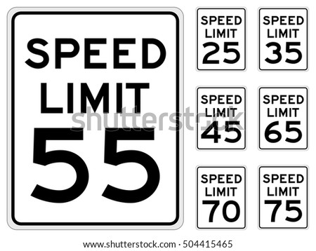 Vector illustration of a United States speed limit road sign, in a variety of speeds.