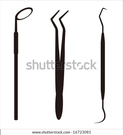 Vector illustration of a variety of dental implements