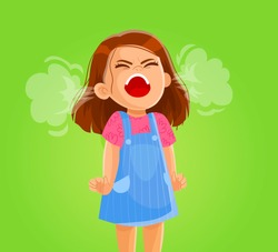 Vector illustration of a very angry girl screaming. aggressive children