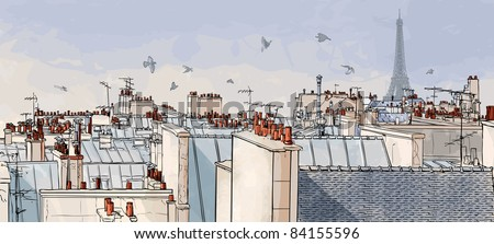 Vector illustration of a view on Paris roofs with Eiffel Tower