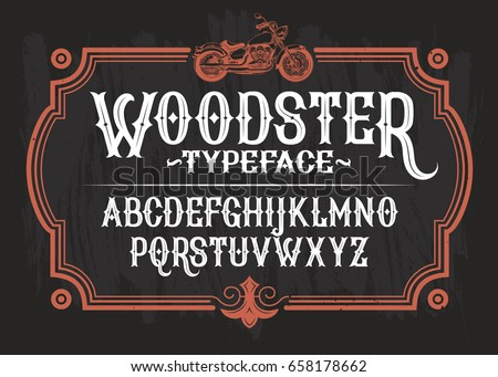 Vector illustration of a vintage font, the Latin alphabet in a retro frame with a custom motorcycle. Template, design element