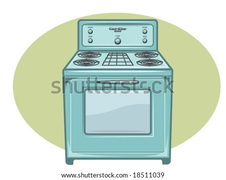 vector illustration of a vintage gas oven