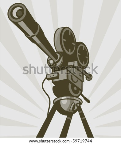 vector illustration of a Vintage movie or television film camera viewed from a low angle done in retro style.