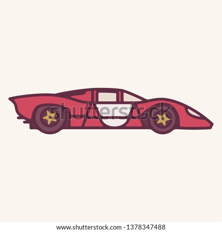 Vector illustration of a vintage red 1960s prototype sports car.
