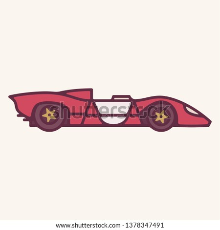 Vector illustration of a vintage red 1960s prototype sports car with open top.