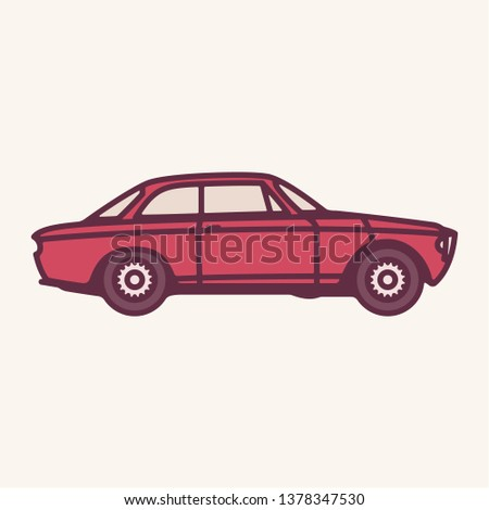 Vector illustration of a vintage red 1960s sports car.