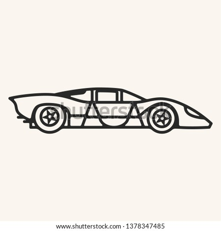 Vector illustration of a vintage 1960s prototype sports car in outline style.