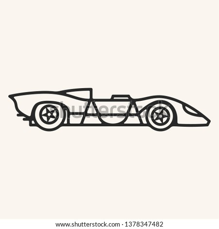Vector illustration of a vintage 1960s prototype sports car with open top in outline style.