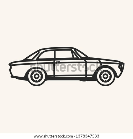 Vector illustration of a vintage 1960s sports car in outline style.