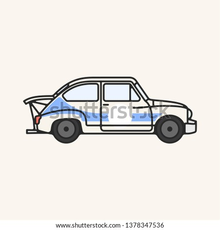 Vector illustration of a vintage 1960s Touring car in cream and blue.