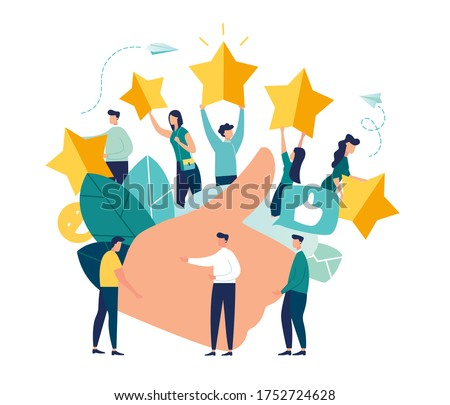 Vector illustration of a vote, measurement of customer satisfaction and star rating, satisfactory rating, hand shows a class sign vector
