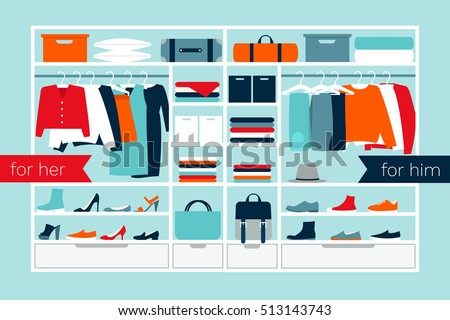 Vector illustration of a wardrobe. Clothes, shoes, bags