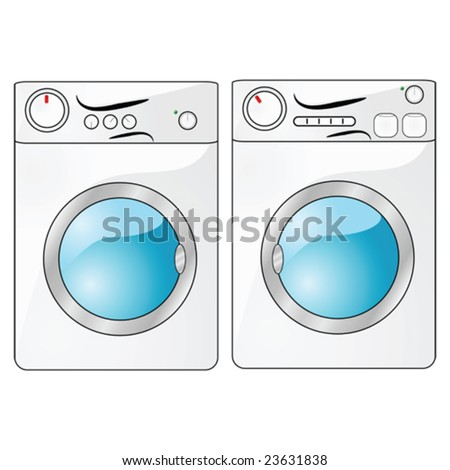 Vector illustration of a washing machine beside a dryer