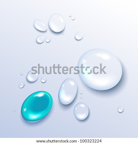 Vector illustration of a water drop on a light background