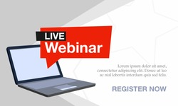 Vector illustration of a webinar with a laptop. Suitable for online seminar banner poster templates, remote classes and online training courses. Background banner concept for webinar presentation.