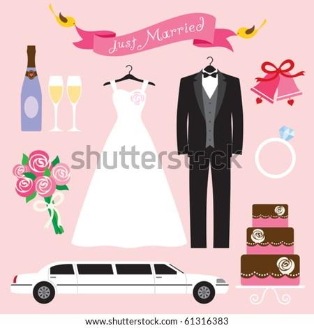 Vector illustration of a wedding icon set.