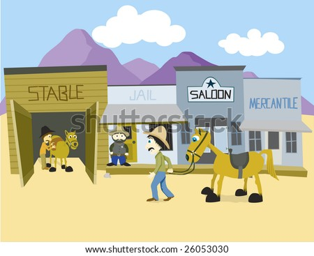 Vector illustration of a western town.