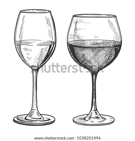 Vector illustration of a white and red wine glasses in hand drawn vintage engraving style. ストックフォト ©