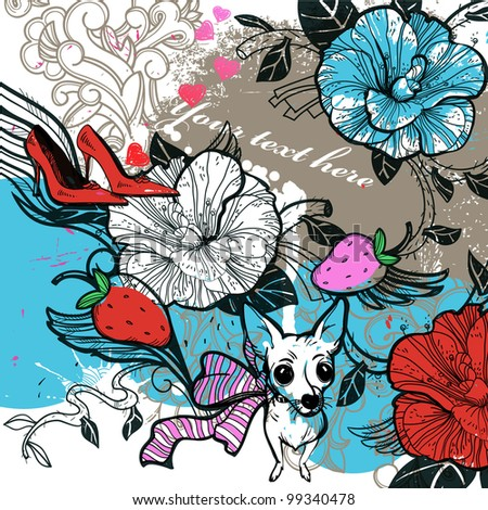 vector illustration of a white doggy and red shoes on an abstract background with blooming flowers