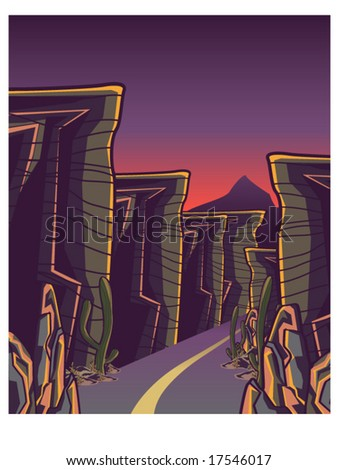 vector illustration of a winding canyon road