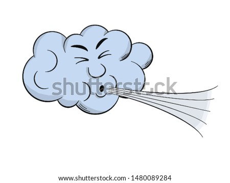 Vector illustration of a windy day, the cloud blows in the wind in isolate on a white background