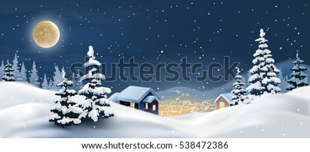 Vector illustration of a winter landscape.