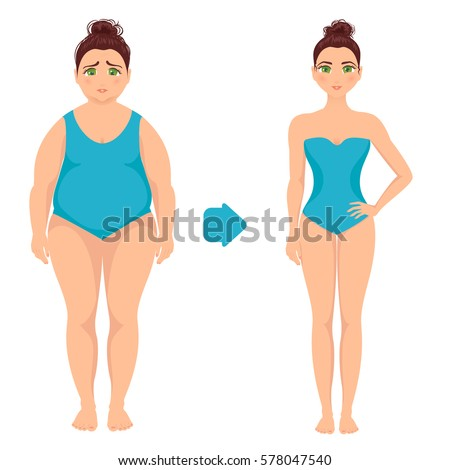 Vector illustration of a woman before and after weight loss. Perfect body symbol. Successful diet and sport concept. Ideal for fitness gyms and health magazines.