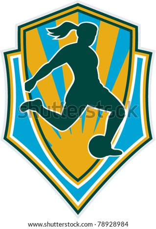 vector illustration of a woman girl playing soccer kicking the ball set inside shield