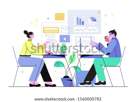 Vector illustration of a working process in an office. Working atmosphere. People having business discussion and analysing data, planning, collect statistics or prepare the report. Team work concept.