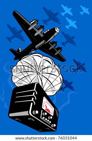 vector illustration of a world war two bomber dropping vintage radio on parachute done in retro style