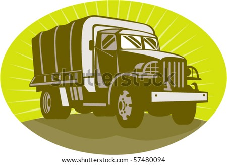 vector illustration of a World war two military personnel carrier truck