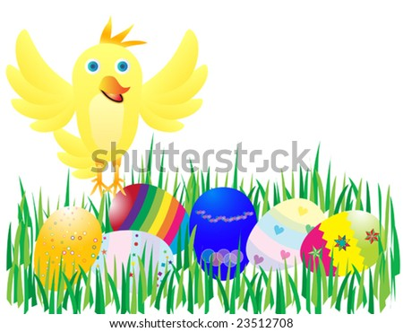 Vector illustration of a yellow chicken and easter eggs
