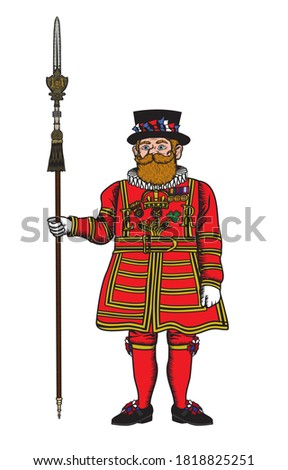 Vector illustration of a Yeoman Warder popularly known as the Beefeater, ceremonial guardian of the Tower of London