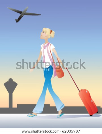 vector illustration of a young blonde female student at an airport with a red suitcase in eps10 format
