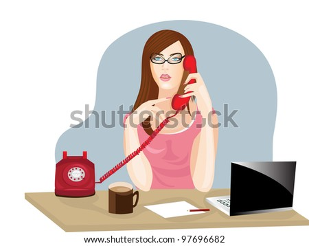 Vector illustration of a young business woman or receptionist talking on phone on reception desk.